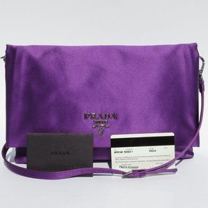 PRADA Purple Satin Silver HW Crossbody Clutch EC